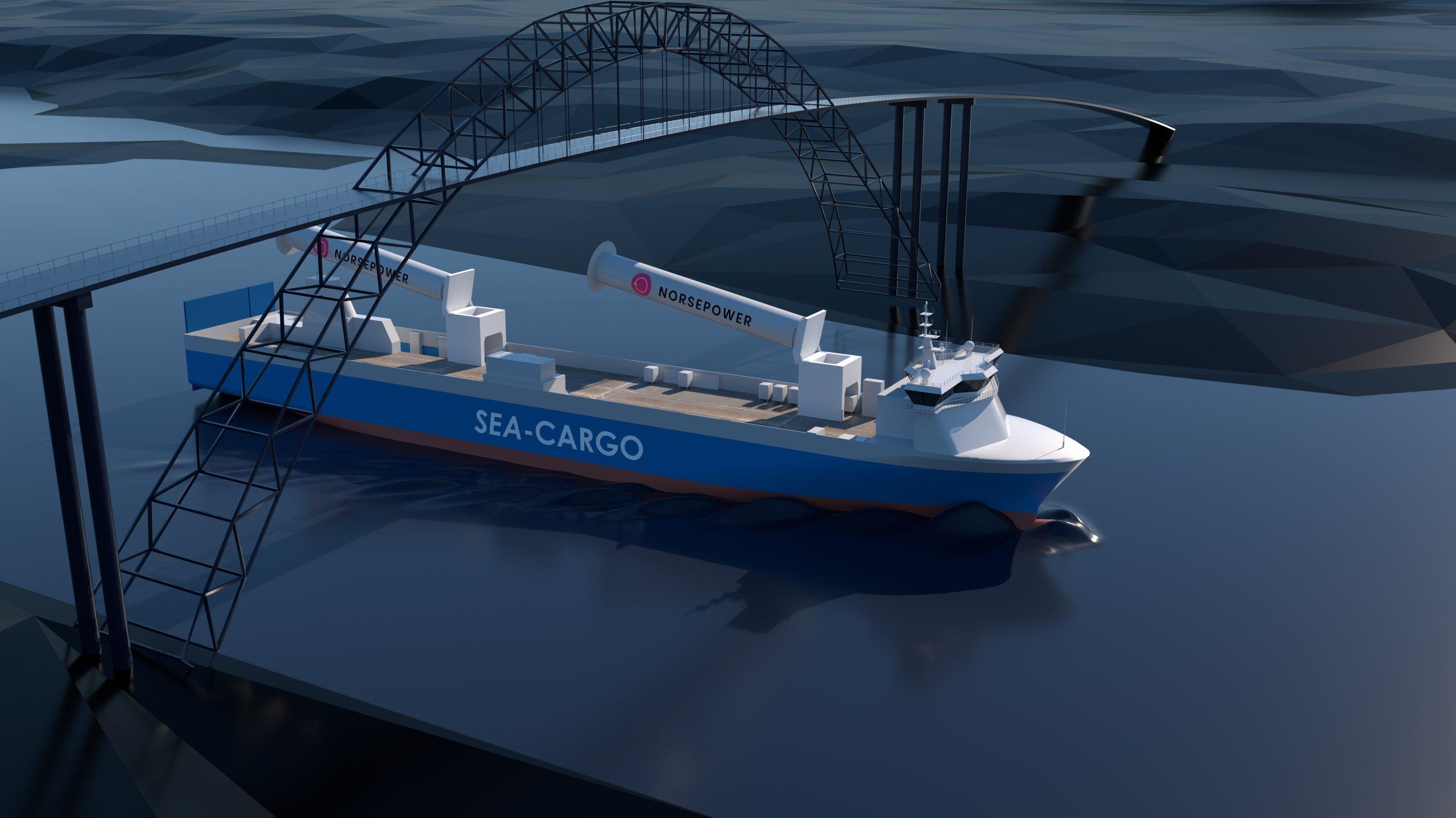 zeilschip, rotoren, brug, sea cargo