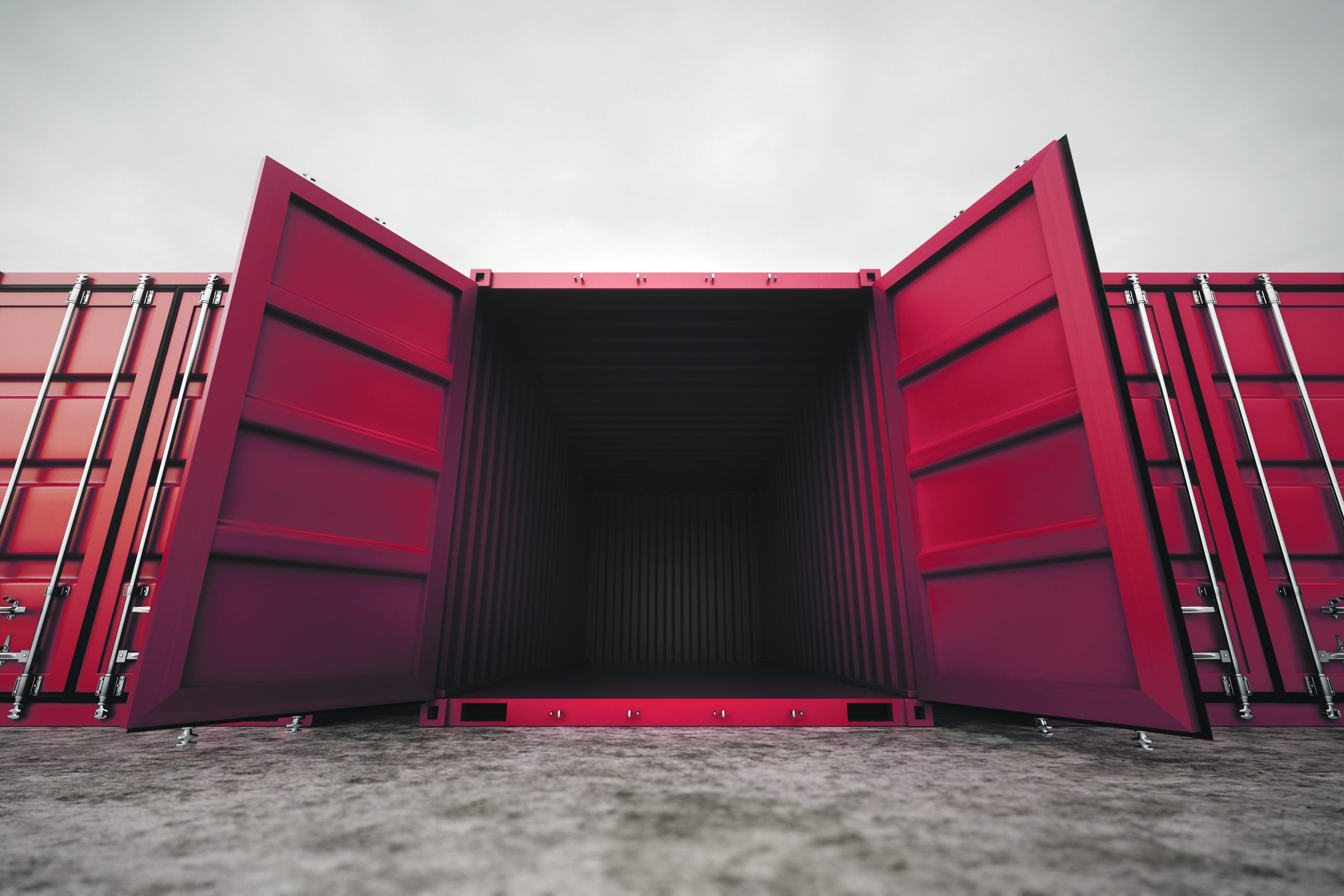 Picture,Of,Red,Open,Containers,In,The,Row. lege container